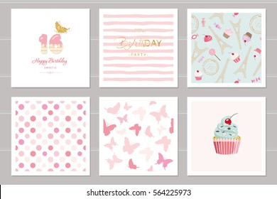 Birthday cards set for teenage girls. Including seamless patterns in pastel pink. Sweet 16, butterflies, cupcake, polka dots, Eiffel tower, stripped.