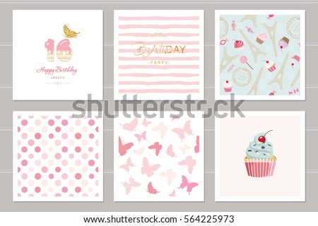 Birthday Cards Set Teenage Girls Including Stock Vector Royalty