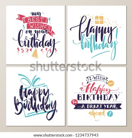birthday cards various words about birthday stock vector royalty