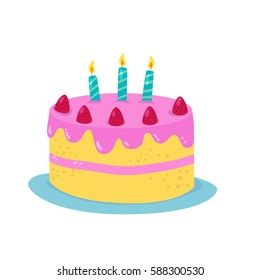 Birthday Cartoon Design Cake With Candles Vector Illustration