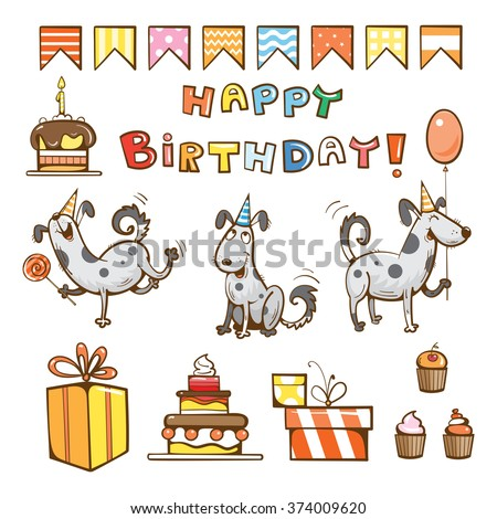 Birthday Cartoon Set Cute Dogs Gifts Cake Candle Balloon And Candy