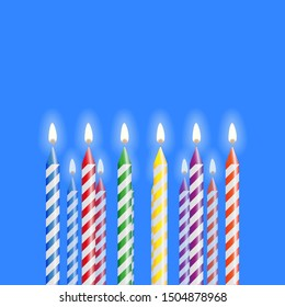 Birthday celebration gidt greeting card with multicolor candles bright burning on blue background