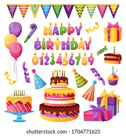 Birthday celebration, holiday party decor. Vector icons. Candles with numbers, Happy Birthday letters, gift, cake, balloons, isolated on white background. Design elements for invitation, greeting card