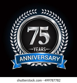 Birthday celebration logo 75 years with wreath, laurel, blue ribbon and silver ring