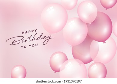 Birthday celebration and party background with pink flying balloons for Birthday and Anniversary poster. Vector illustration.