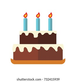 Birthday chocolate cake flat icon with white background. Vector Illustration.