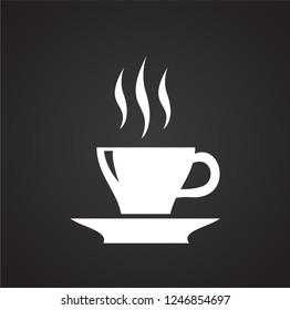 Birthday coffee icon on black background for graphic and web design, Modern simple vector sign. Internet concept. Trendy symbol for website design web button or mobile app