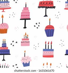 Birthday cream cakes flat vector seamless pattern