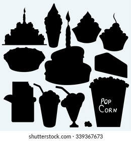 Birthday cupcake, cake, pie, chocolate bar, ice cream and popcorn. Isolated on blue background. Vector silhouettes