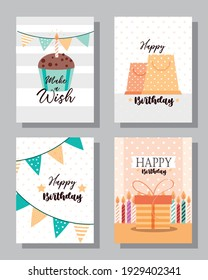 birthday cupcake decoration cards set