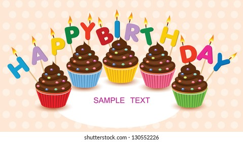 Birthday cupcakes.Happy Birthday vector birthday card .