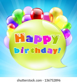 Birthday Day Card With Colorful Balloons With Gradient Mesh, Vector Illustration
