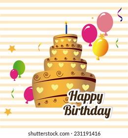 Birthday design over beige background,vector illustration
