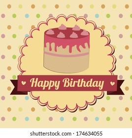 birthday  design over  dotted  backgrund vector illustration