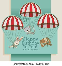 birthday design over gray background vector illustration