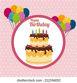 Birthday design over pink background, vector illustration