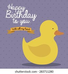 Birthday  design over purple background, vector illustration