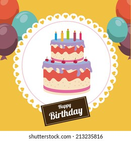 Birthday design over yellow background,vector illustration