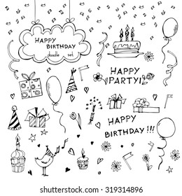 Birthday elements. Hand drawn doodle set with birthday cake, balloons, gift and festive attributes. Vector illustration.