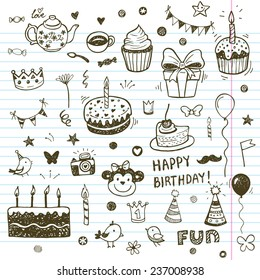 Birthday elements. Hand drawn set with birthday cakes, baloons, gift and festive attributes.