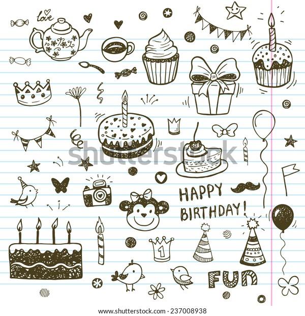 Birthday Elements Hand Drawn Set Birthday Stock Vector (Royalty Free) 237008938