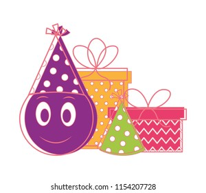 Birthday Emoji Face With Party Hat And Gift