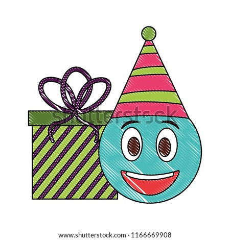 Birthday Emoji Face With Party Hat And Gift Drawing Color