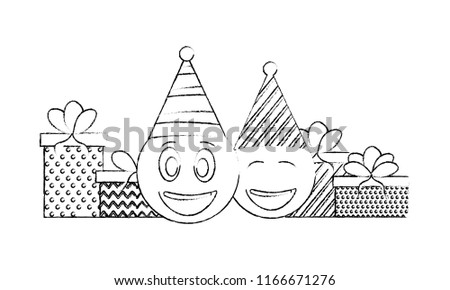Birthday Emoji Face With Party Hat And Gifts Hand Drawing
