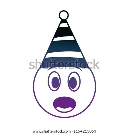 Birthday Emoji Surprised Party Hat Neon Image