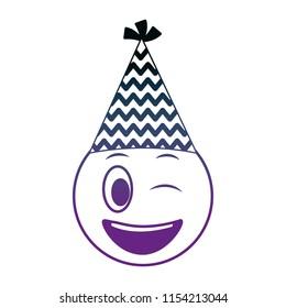 Birthday Face Winking Emoji Party Hat Neon Design Image