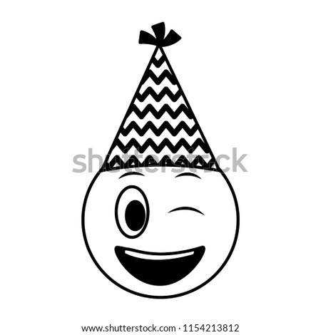 Birthday Face Winking Emoji Party Hat Black And White