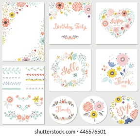 Birthday floral card set with decorative flowers, butterfly, branches, floral wreath and pattern brushes.