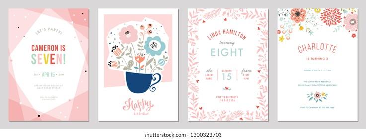 Birthday floral card set. Vector illustration.