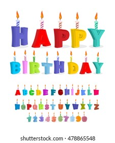 Birthday font. letters and candles. Celebratory alphabet. holiday ABC for postcards