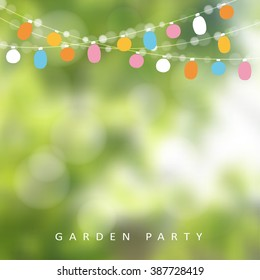 Birthday garden party or Brazilian june party, vector illustration with string of lights and blurred background