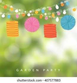 Birthday garden party or Brazilian june party, vector illustration with string of lights, paper lanterns and blurred background