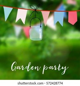 Birthday garden party or Brazilian june party card. Decoration with flags and jar. Vector illustration with modern blurred background.