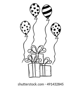 Birthday Gift Balloon Using Hand Drawing Stock Vector Royalty Free