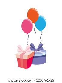 birthday gift box balloons and ribbon