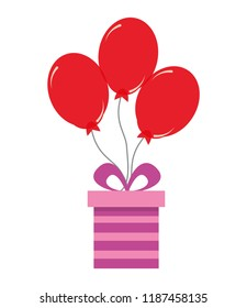 birthday gift box with red balloons decoration