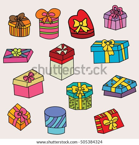 Birthday Gift Boxes Design Set Cartoon Stock Vector Royalty Free