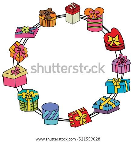 Birthday Gift Boxes Design Set Cartoon Stock Vector Royalty Free