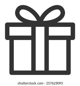 Birthday gift / Christmas gift box with ribbon bow line art vector icon for apps and websites