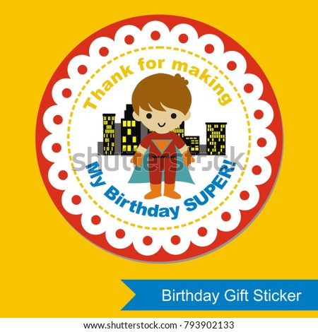 Birthday Gift Sticker Superhero Theme Stock Vector Royalty Free