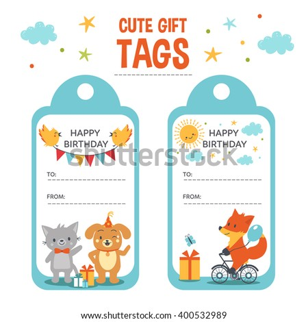 Birthday Gift Tags With Text Place And Cute Animals