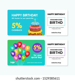 Birthday gift voucher card template design. 5% cashback coupon code promotion with birthday cake artwork and balloons background vector illustration.
