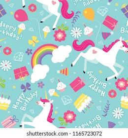 Birthday Girl Unicorn Rainbow Seamless Vector Pattern. Happy Birthday is handwritten as unicorns, rainbows, and butterflies frolic around birthday party elements. Cheerful, girly colors!