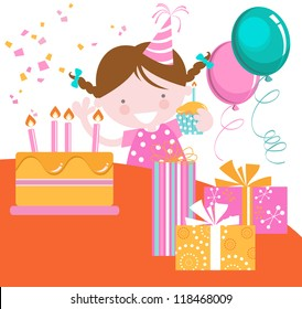 Birthday Girl-Cute girl with birthday cake, balloons and presents