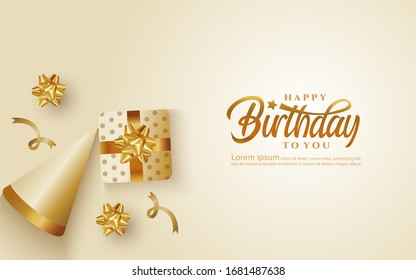 Birthday greeting card background with gift box and cap