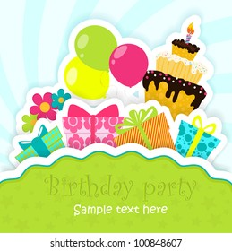 Birthday greeting card with cake, gifts, balloons and flowers, stylized like paper card